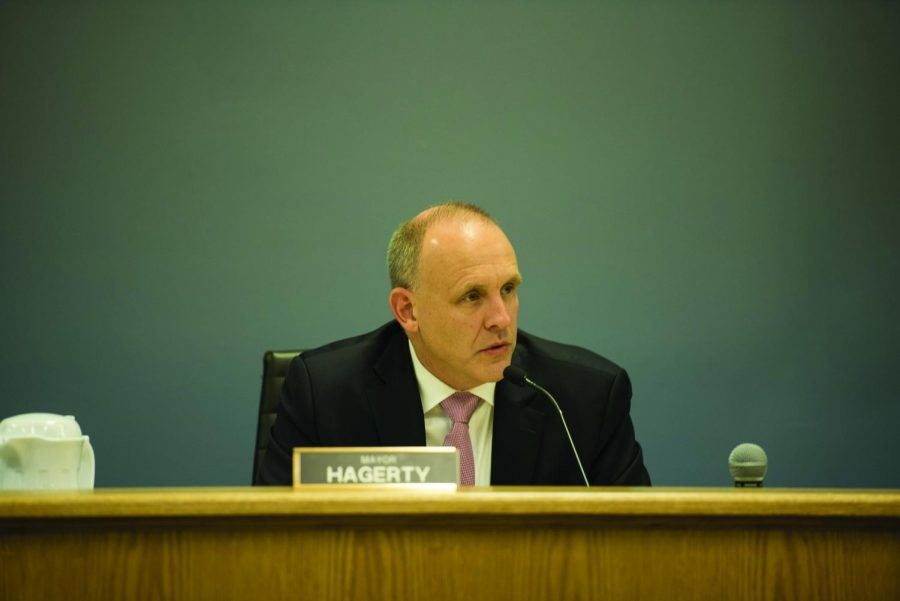 Mayor Steve Hagerty attends a council meeting. At Monday's meeting, aldermen discussed funding options for the new Robert Crown Community Center.