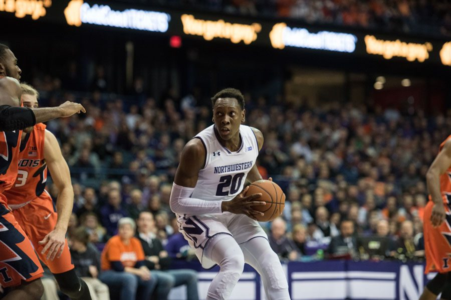 Scottie+Lindsey+gathers+himself+in+the+lane.+The+senior+guard+balled+out+in+his+final+regular+season+game+for+Northwestern+against+Iowa+on+Sunday.