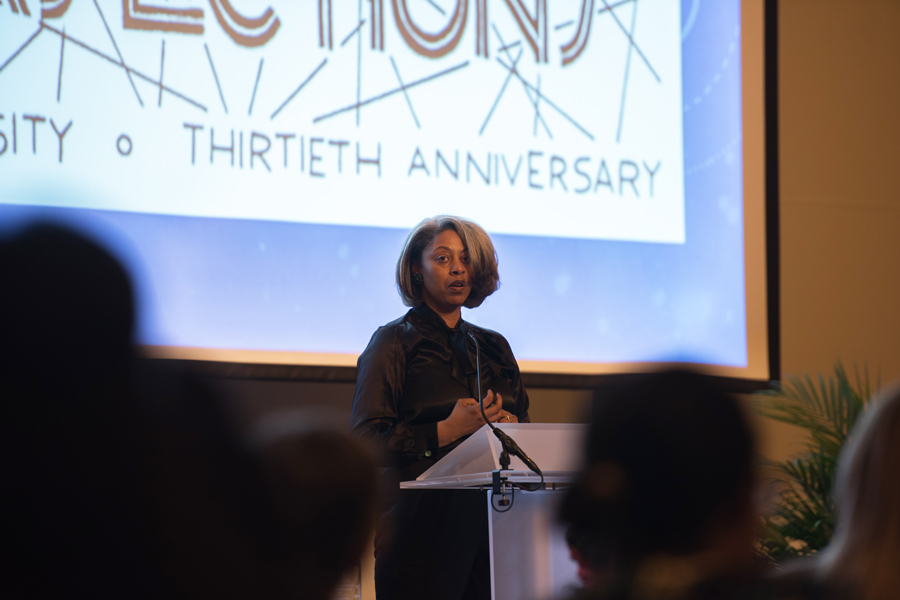 Women's Center director Sekile Nzinga-Johnson speaks Thursday at the center's 30th anniversary celebration. The event honored women's contributions to the center's mission and commemorated its history.
