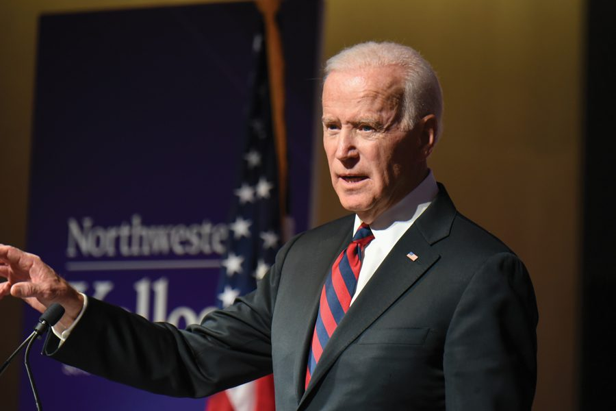 Joe+Biden+speaks+at+the+Kellogg+Global+Hub+in+2018.+The+presidential+candidate+has+expressed+support+for+free+college.