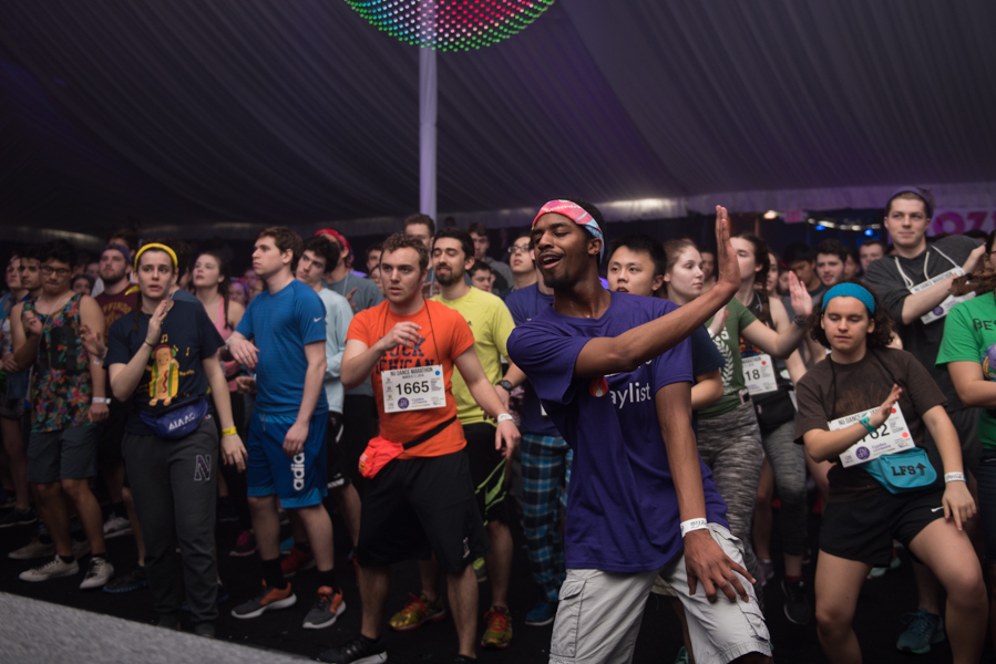Northwestern students dance during Block 6. Dance Marathon officials announced that $9,417 had been raised toward Saturday's goal of reaching $33,000 in 10 hours.