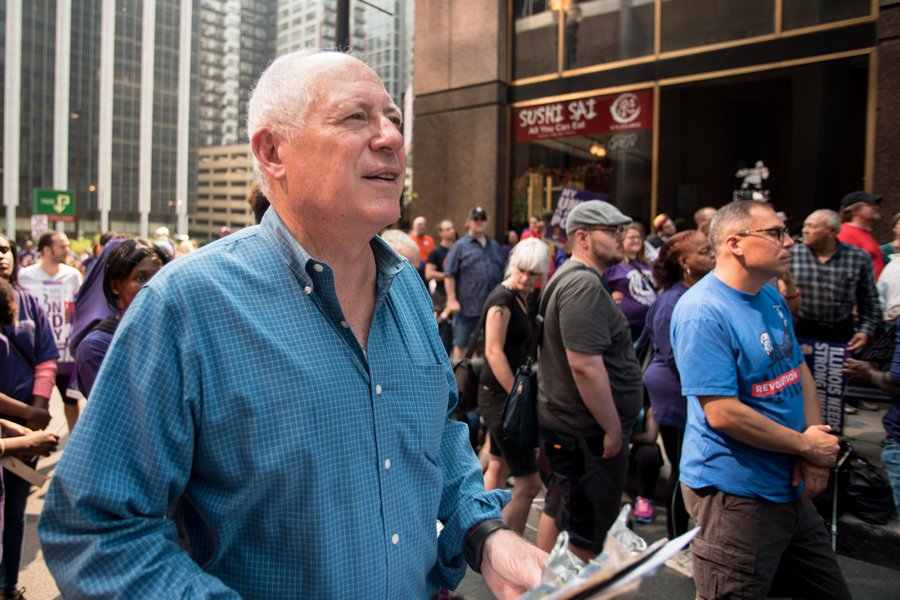 Former governor Pat Quinn at a protest in Chicago. Quinn and seven other democratic candidates will face off in the primary election for Illinois attorney general.