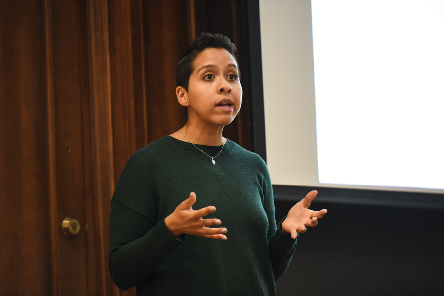 Joanna Thompson speaks Friday at an ASG-sponsored event in Harris Hall. Thompson talked about stigmatization and violence in LGBTQ relationships.