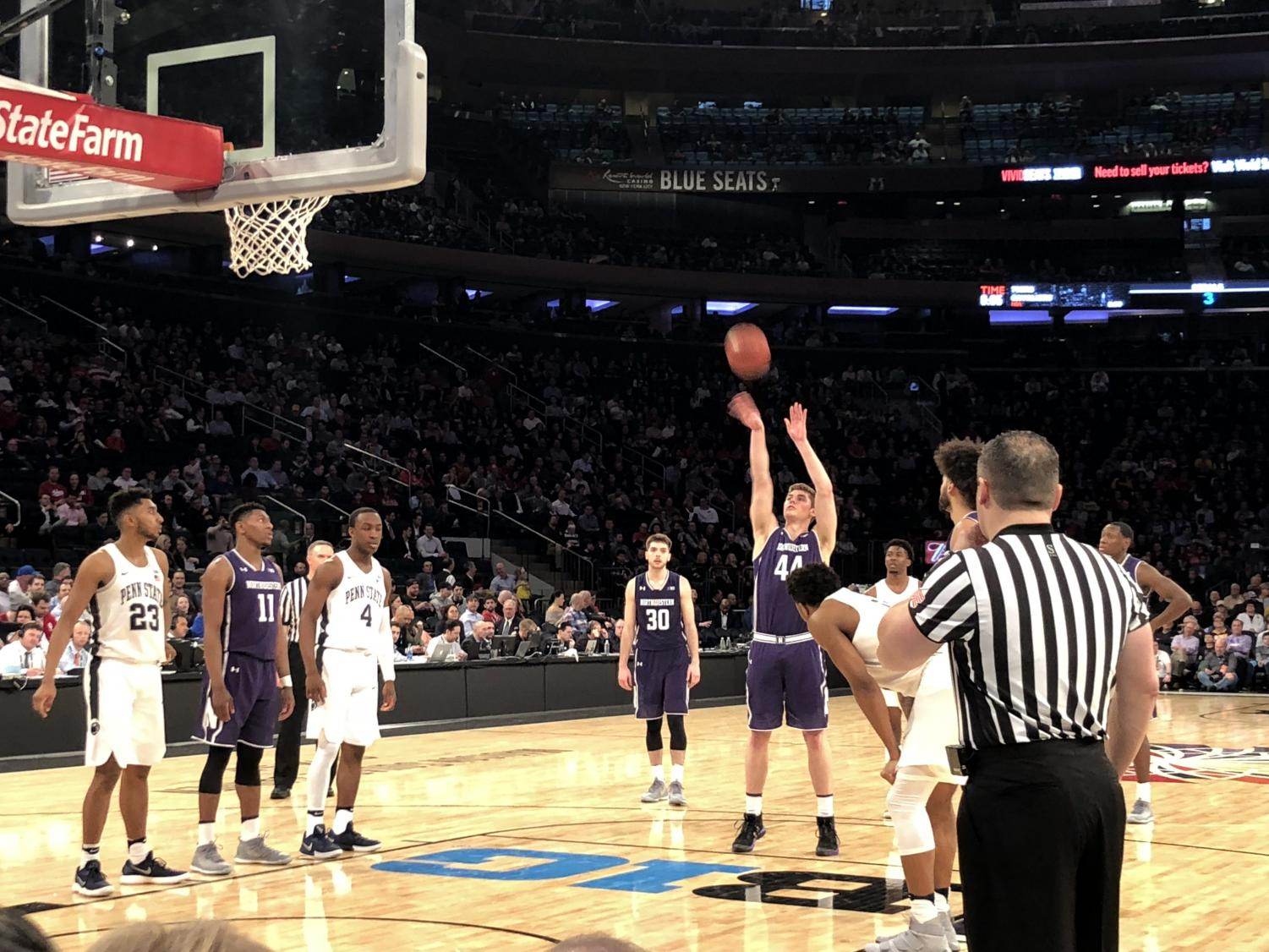 Gavin Skelly attempts a free throw. The senior forward scored 7 points in the Wildcats' Big Ten Tournament game against Penn State.