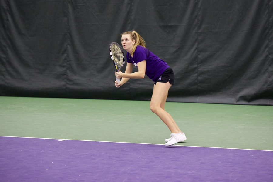 Erin+Larner+lines+up+a+forehand.+The+senior+was+named+Big+Ten+Women%E2%80%99s+Athlete+of+the+Week+for+her+efforts+against+Illinois+and+Iowa.+
