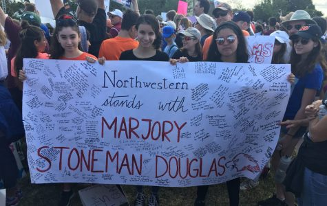 Northwestern students Farrah Sklar (left), Maddie Gaines (center) and Valen-Marie Santos, who helped organize Northwestern Stands With Marjory Stoneman Douglas, attend the March for our Lives event in Parkland, Florida. Several NU students participated in marches across the country on Saturday to protest gun violence in the wake of the Feb. 14 shooting in Parkland.