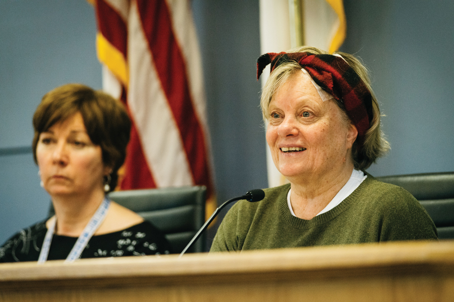 Ald. Judy Fiske (1st) at a meeting. Fiske agreed that the proposed panhandling ordinance needed reform.