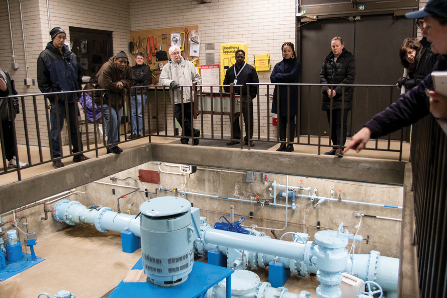 People tour of a water pumping station at 2530 Gross Point Rd. Ald. Robin Rue Simmons (5th) said the facility is similar to the one that will be constructed at 2525 Church St.