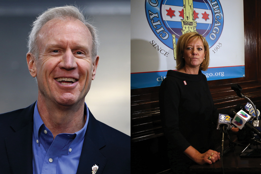Gov. Bruce Rauner at a press conference. State Rep. Jeanne Ives (R-Wheaton) talks to the media after giving a speech.