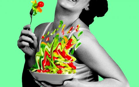 "A woman eating salad. ""Women Laughing Alone with Salad"" is inspired by the viral 2011 meme of the same name."