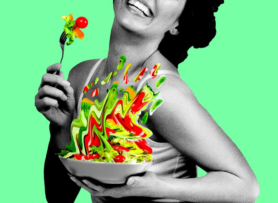 A+woman+eating+salad.+%E2%80%9CWomen+Laughing+Alone+with+Salad%E2%80%9D+is+inspired+by+the+viral+2011+meme+of+the+same+name.