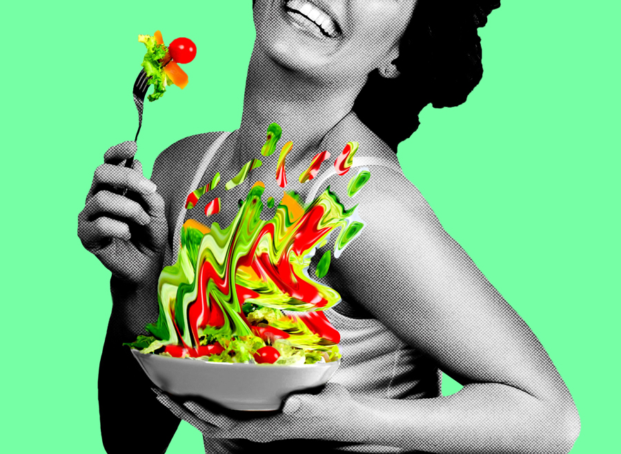 """A woman eating salad. """"Women Laughing Alone with Salad"""" is inspired by the viral 2011 meme of the same name."""