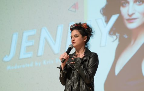 Comedian Jenny Slate talks at A&O Productions and College Democrats' winter speaker event. Slate discussed her career, the #MeToo Movement and tampons at the Thursday event.