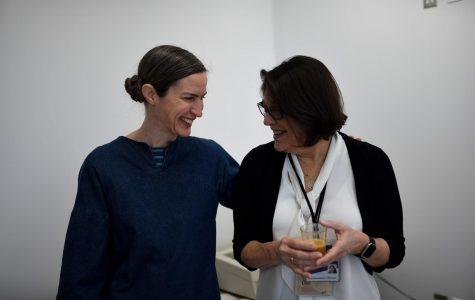 Artist in Residence Jen Bervin at her workshop. Bervin has endeavored to promote interdisciplinary artwork into her residency.