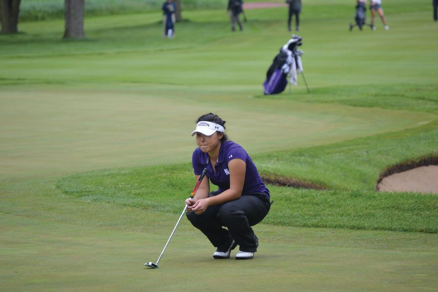 Sarah+Cho+ponders+a+putting+line.+The+senior+struggled+this+weekend+while+the+Wildcats+turned+in+a+bounce+back+performance.