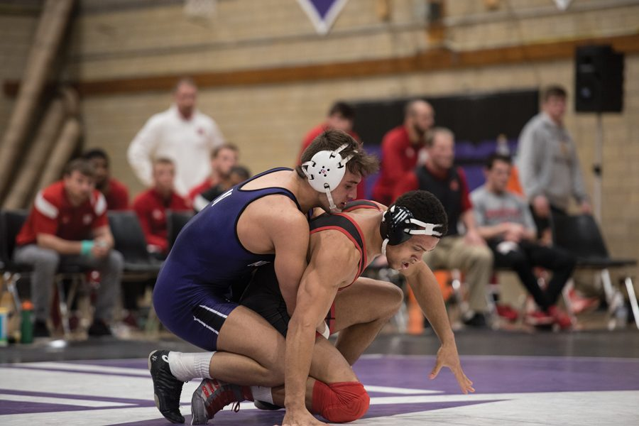 Johnny Sebastian wrestles with an opponent. The junior was NU's top individual finisher at Big Ten Championships this weekend.