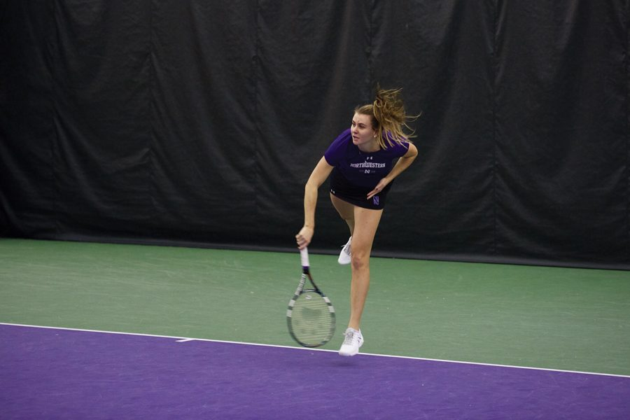 Erin+Larner+smacks+a+serve.+The+senior%2C+last+week%E2%80%99s+Big+Ten+Women%E2%80%99s+Tennis+Athlete+of+the+Week%2C+will+look+to+lead+Northwestern+to+another+win+over+a+ranked+opponent+Friday.