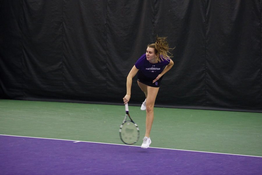 Erin Larner smacks a serve. The senior, last week's Big Ten Women's Tennis Athlete of the Week, will look to lead Northwestern to another win over a ranked opponent Friday.