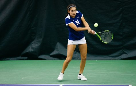 Caroline Pozo prepares to hit a backhand. The Wildcats look to win their second straight game against a top-10 opponent.