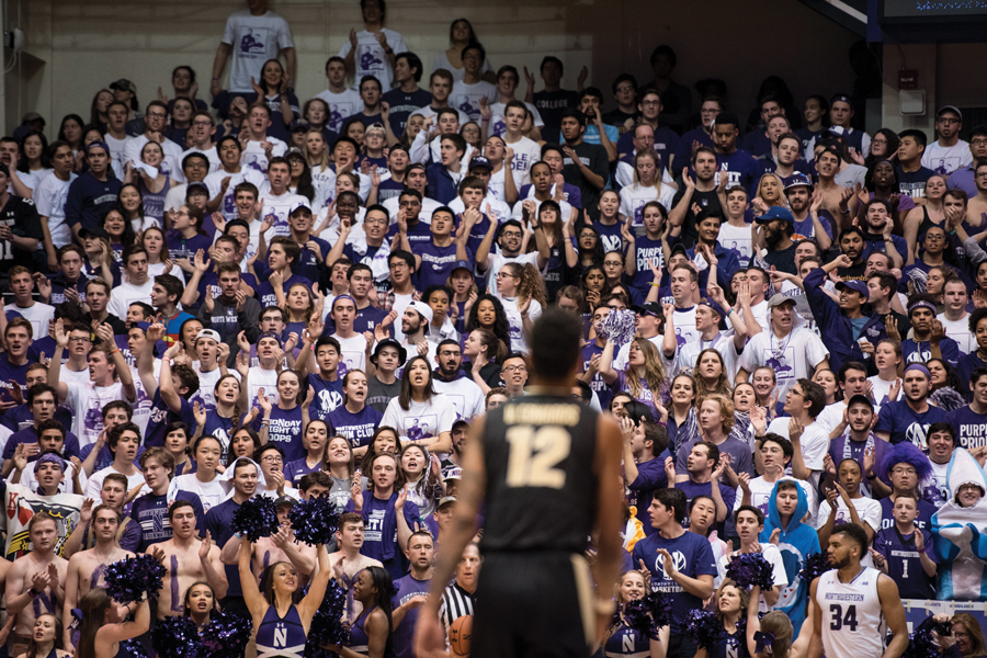 The crowd at a men's basketball game at Welsh-Ryan Arena two seasons ago. The new renovations will likely be unveiled to host men's and women's exhibition games on Nov. 2, Schapiro said.