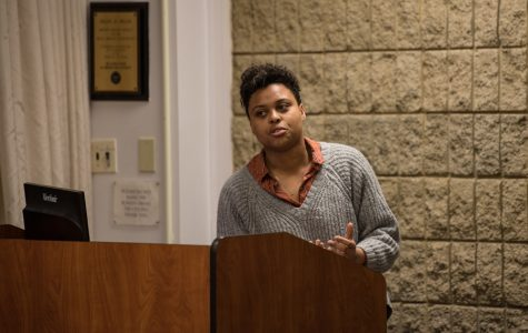 Sky Patterson speaks during an ASG Senate meeting. Patterson is running for ASG president with running mate Emily Ash.