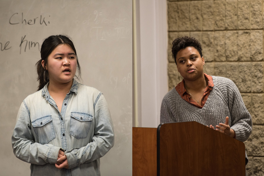 Justine Kim (left) and Sky Patterson speak during ASG Senate. The two juniors announced their candidacies for ASG president Tuesday.