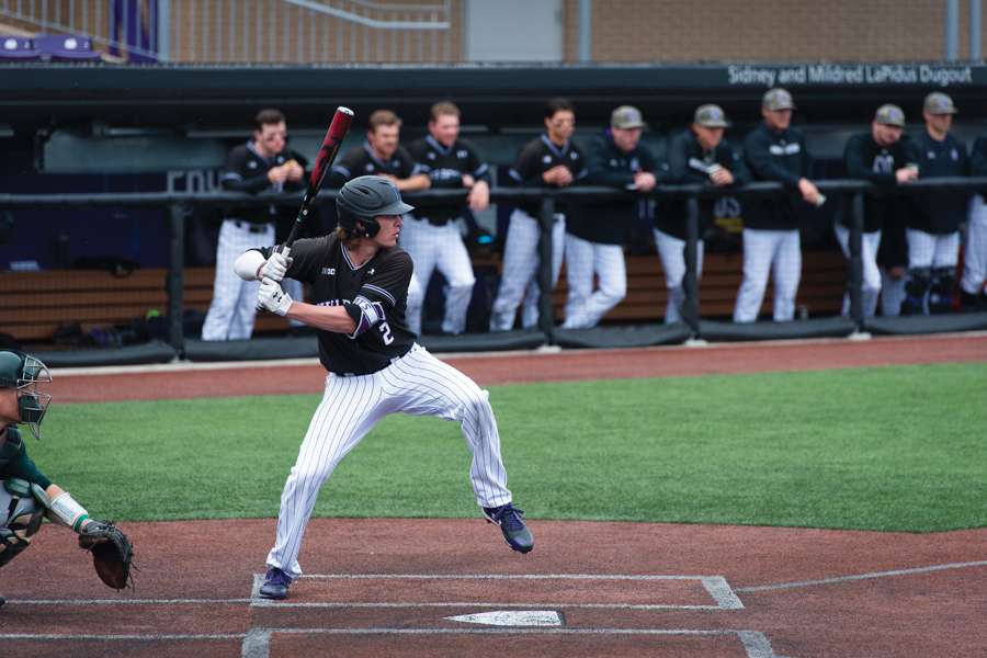 Jack Dunn prepares to take a swing. The junior shortstop hit the only RBI of the game in Northwestern's 1-0 win Tuesday.