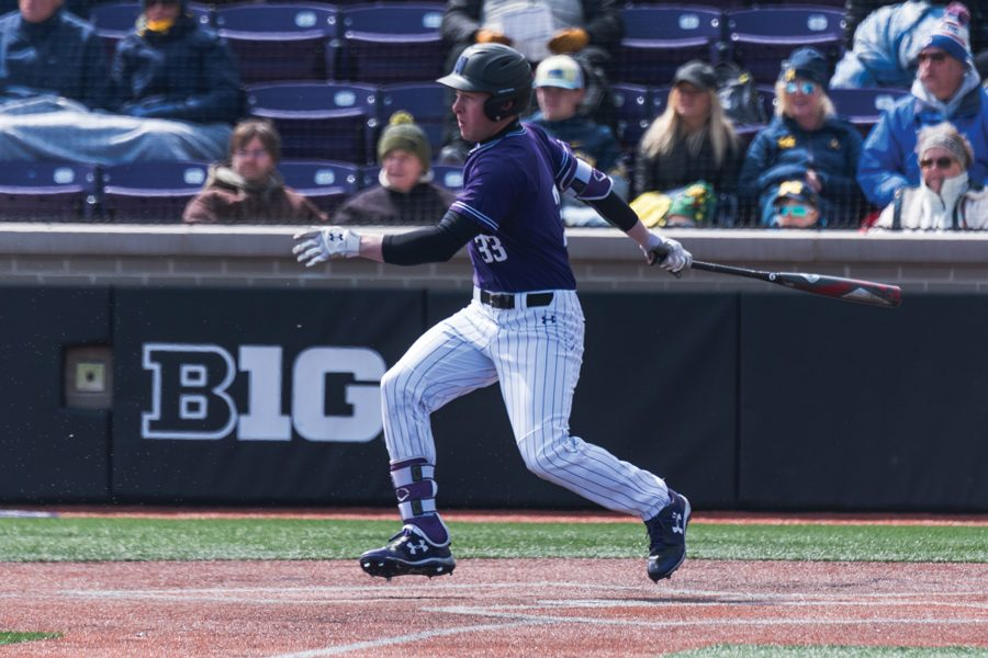 Casey+O%E2%80%99Laughlin+watches+a+hit.+The+freshman+right+fielder+hit+a+game-tying+double+in+the+eighth+inning+Wednesday%2C+but+the+Wildcats+allowed+2+runs+in+the+ninth+to+fall+6-4.