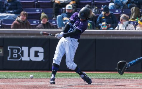 Charlie Maxwell takes a swing. The sophomore third baseman had five hits in Northwestern's sweep of Penn State.