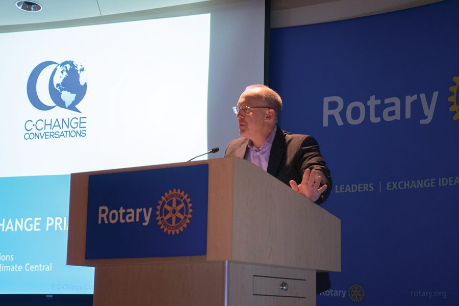 Mayor+Steve+Hagerty+speaks+during+a+Thursday+event+at+Rotary+International%2C+1560+Sherman+Ave.+Hagerty+reiterated+the+city%E2%80%99s+commitment+to+sustainability+efforts.