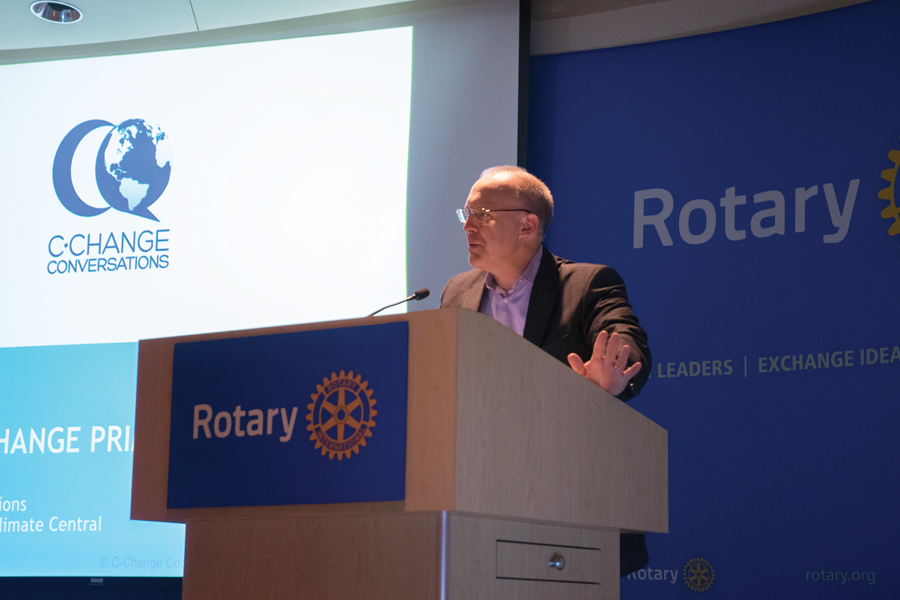 Mayor Steve Hagerty speaks during a Thursday event at Rotary International, 1560 Sherman Ave. Hagerty reiterated the city's commitment to sustainability efforts.
