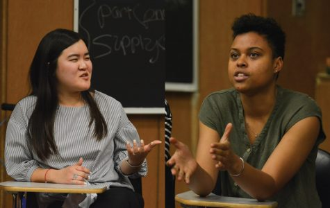 ASG presidential candidates Justine Kim (left) and Sky Patterson (right) discuss policy during Tuesday's debate. In Thursday's debate, the two addressed how to help marginalized communities on campus and sexual assault survivors.