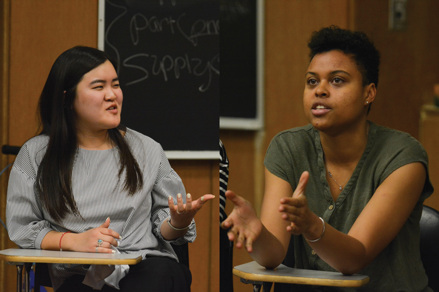 SESP junior Justine Kim (left) and Weinberg junior Sky Patterson speak during Tuesday's debate. The candidates for ASG president discussed mental health and the role of ASG structure in policy.