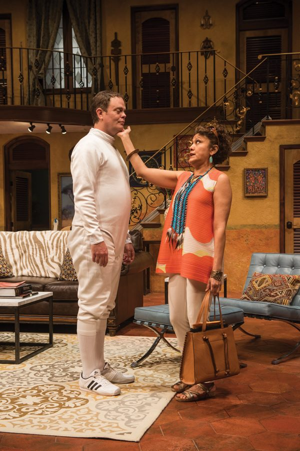 """Communication lecturer Sandra Marquez (right) performs alongside actor Rainn Wilson in Steppenwolf Theatre's """"The Doppelgänger."""" The show runs from April 5 to May 27."""