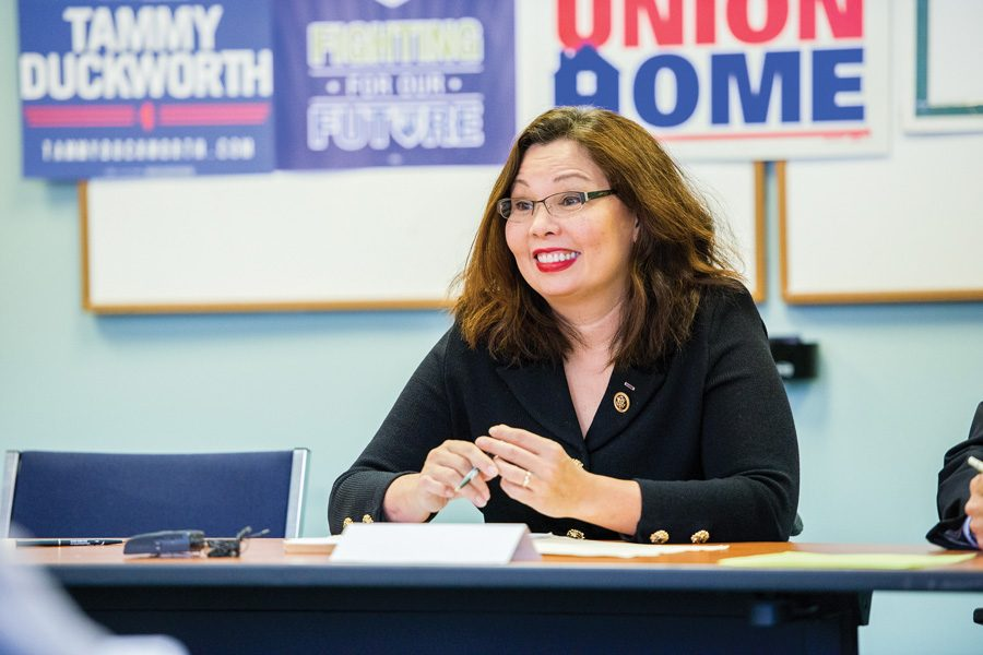 U.S.+Sen.+Tammy+Duckworth+%28D-Ill.%29+speaks+at+an+event.+Duckworth+criticized+President+Donald+Trump+for+failing+to+seek+Congressional+approval+for+Syrian+airstrikes.+