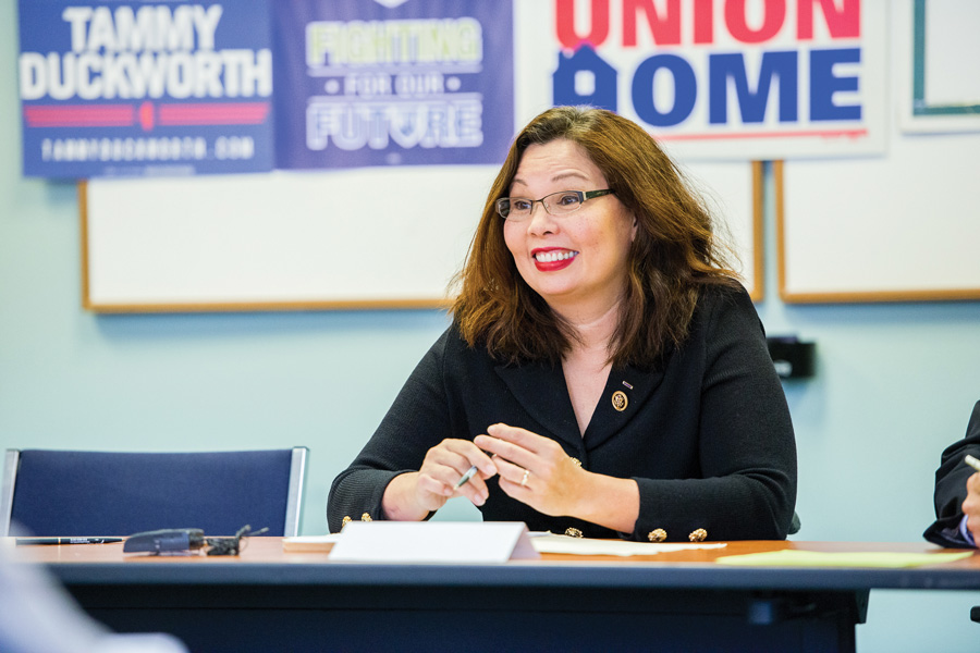 U.S. Sen. Tammy Duckworth (D-Ill.) speaks at an event. Duckworth criticized President Donald Trump for failing to seek Congressional approval for Syrian airstrikes.