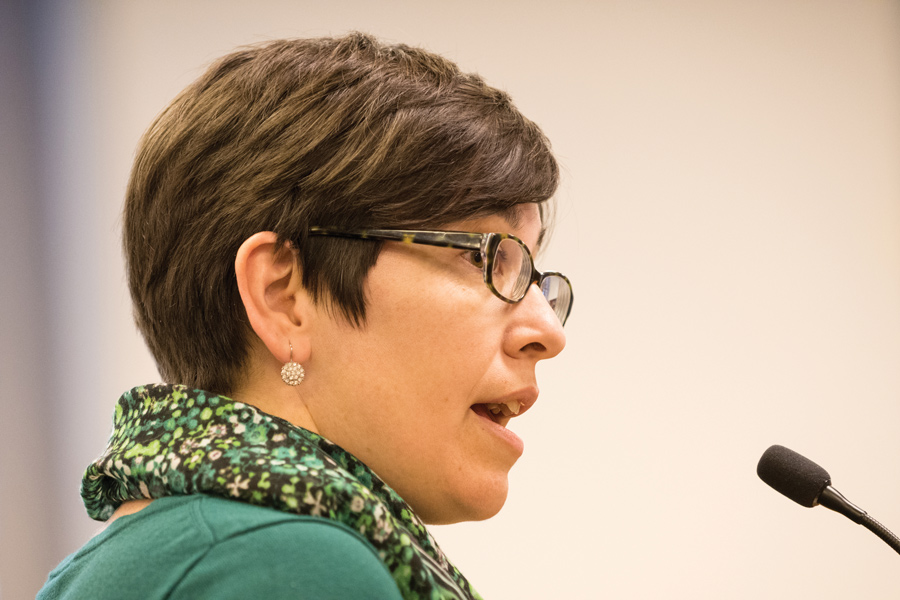 Evanston Rebuilding Warehouse executive director Aina Gutierrez speaks at a city meeting Wednesday. The Economic Development Committee approved the recommendation to supply $15,000 worth of funds to the organization's job training program.