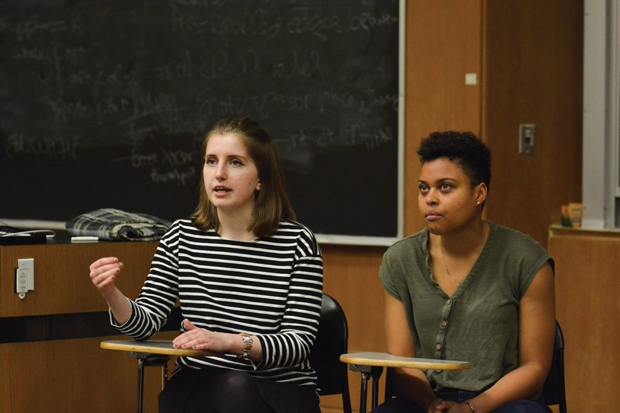 Weinberg juniors Sky Patterson and Emily Ash speak during at a Tuesday debate for Associated Student Government president and vice president. Patterson and Ash won the ASG election Friday.