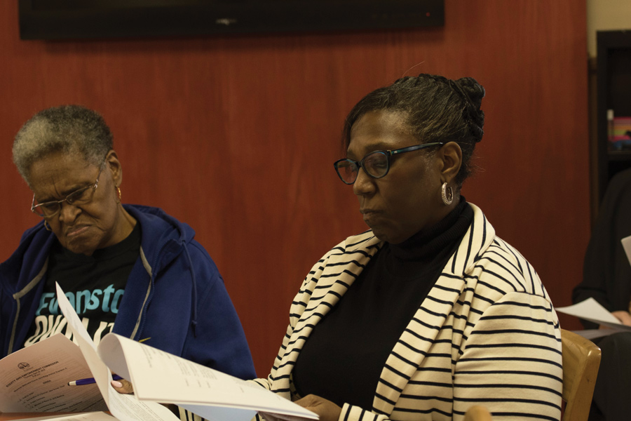 Former 5th Ward alderman Delores Holmes and equity and empowerment coordinator Patricia Efiom attend a Thursday Equity and Empowerment Commission meeting. Members discussed plans for resident input before city staff draft the fiscal year 2019 budget.
