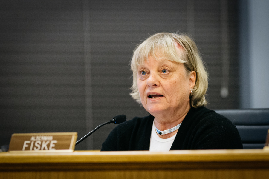 Ald. Judy Fiske (1st) speaks at a council meeting on Monday. Fiske requested that aldermen revisit the discussion of a 6-foot fence along the Sherman Plaza Parking Garage roof.