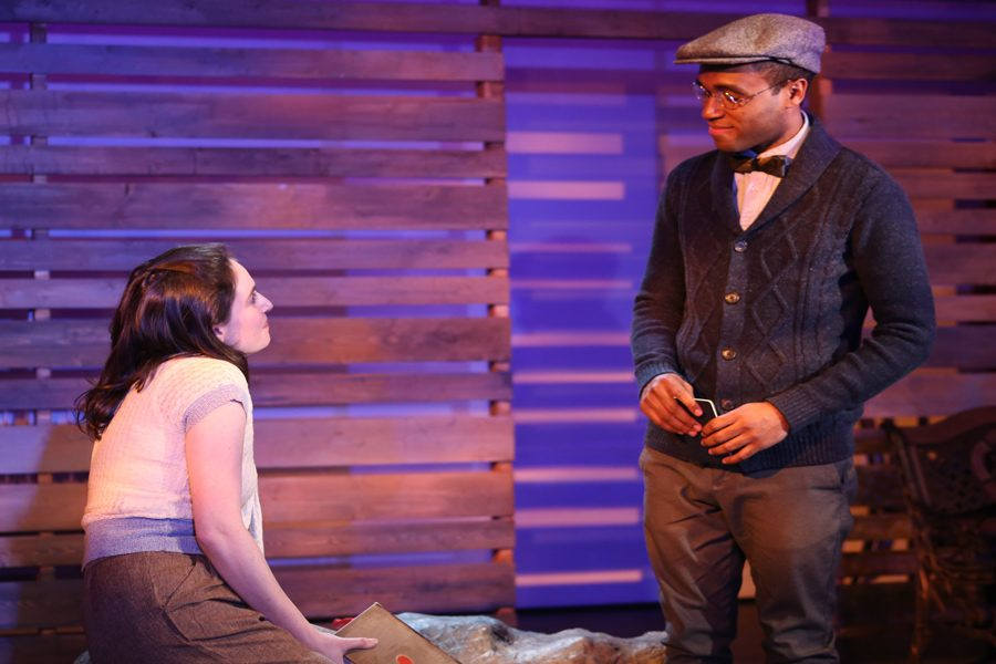 """Jelani Pitcher and Rachel Shapiro in """"A Home on the Lake."""" The play, written by Evanston residents Stephen Fedo and Tim Rhoze, discusses race and housing discrimination in Evanston."""