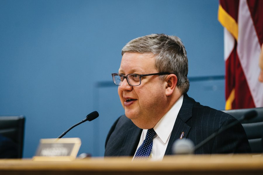 """City manager Wally Bobkiewicz speaks at a city meeting. Bobkiewicz said Evanston is conducting """"base-level"""" research into a municipal ID program."""