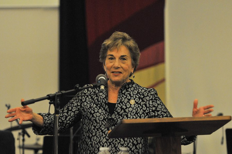 U.S. Rep. Jan Schakowsky (D-Ill.) speaks to a crowd at an Evanston event. Schakowsky heard testimony from Facebook CEO Mark Zuckerberg Wednesday at a House Energy and Commerce Committee hearing.