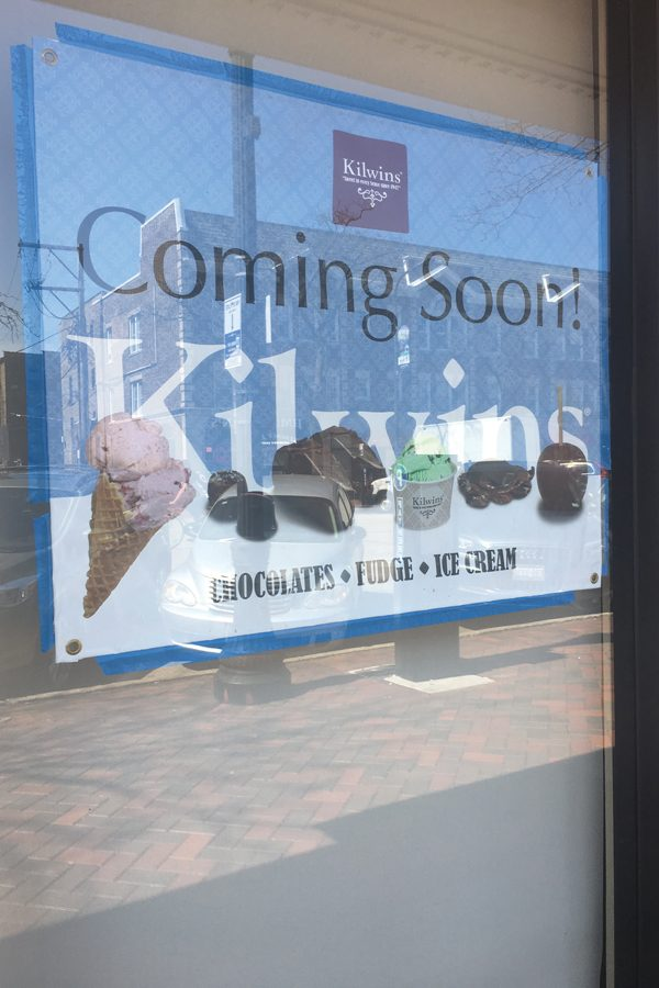 A sign advertising the opening of Kilwins at 1724 Sherman Ave. Chicago resident Jeff Schneider said he is in initial talks with the city government about bringing a Kilwins franchise to Evanston.