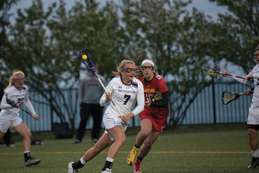 Sheila Nesselbush runs away from a defender during a 2017 home game against Maryland. The now-senior attacker and the Wildcats will travel to face the Terrapins on Thursday.