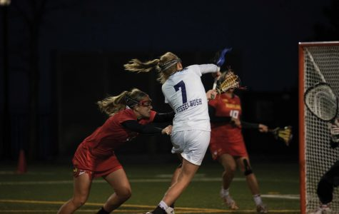 Sheila Nesselbush takes a shot during a 2017 game against Maryland. Nesselbush scored three goals but it wasn't enough for the Wildcats to upset the Terrapins on the road Thursday.
