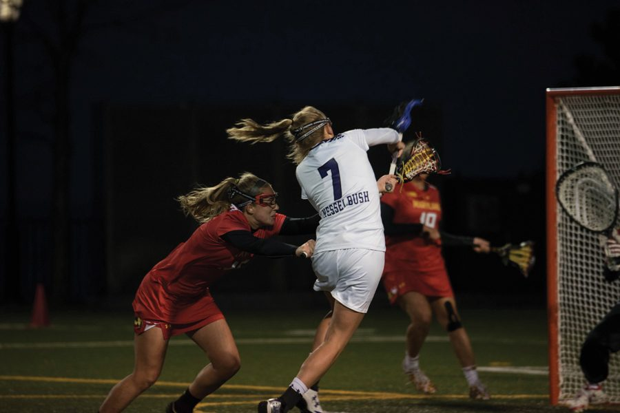 Sheila+Nesselbush+takes+a+shot+during+a+2017+game+against+Maryland.+Nesselbush+scored+three+goals+but+it+wasn%E2%80%99t+enough+for+the+Wildcats+to+upset+the+Terrapins+on+the+road+Thursday.
