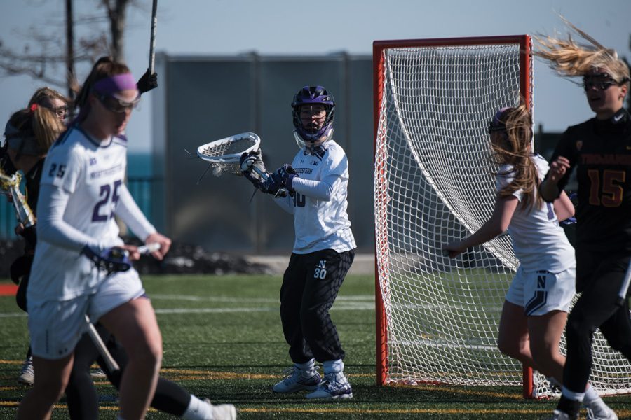Julie+Krupnick+looks+to+pass+the+ball.+The+redshirt+freshman+was+named+Big+Ten+Freshman+of+the+Week+after+she+collected+45+saves+in+four+games.