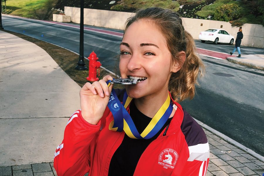 Medill+sophomore+Emma+Kumer.+Kumer+was+one+of+three+Medill+sophomores+to+compete+in+the+Boston+Marathon+on+April+16.+