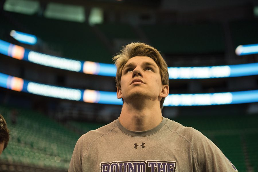 Rapolas+Ivanauskas+looks+on+prior+to+a+2017+NCAA+Tournament+game.+The+forward+announced+Tuesday+his+intent+to+transfer+from+Northwestern.